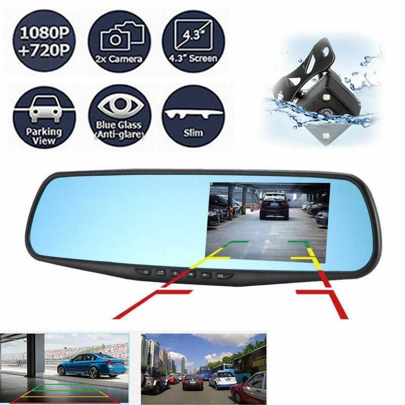 """Видеорегистратор огледало 4.3"""" монитор + камера за паркиране"""