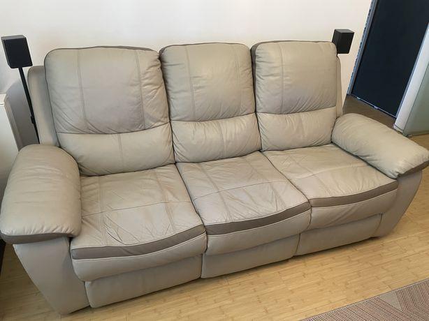 Canapea și fotoliu Kring cu recliner, piele naturala