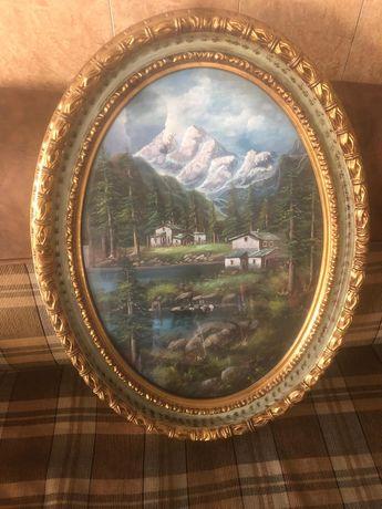 Vind 4 tablouri pictat manual picture pe pinza in ulei rame lemn