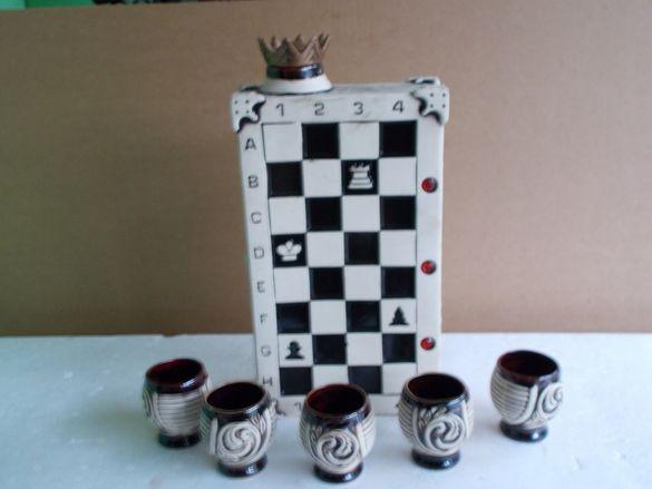 Бутикова порцеланова бутилка с 5 чаши за Шахматисти и добри дегустатор