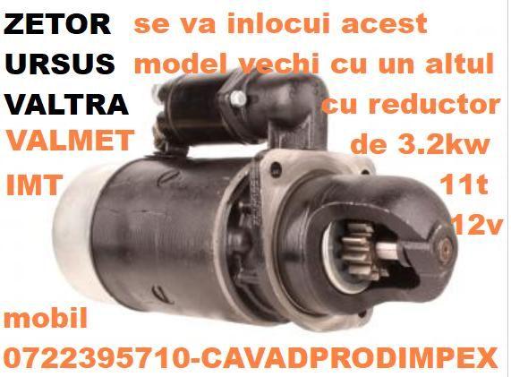 Electromotor tractor ZETOR,VALTRA,URSUS-reductor 3.2kw,11dinti bendix