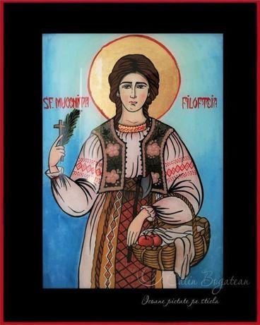 Sfânta muceniță Filofteia icoană pictată pe sticlă