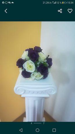 Vanzare 6 aranjamente florale mov cu alb 6 bucati flori artificiale