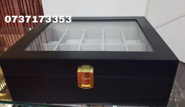 Cutie pentru 10 ceasuri/din LEMN/ negru mat