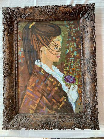 """Goblen cusut manual,""""My Lady"""" cu rama de lemn sculptat 86x66cm."""