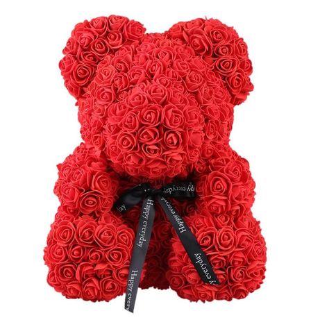 Ursulet din petale trandafir Rose Teddy 40cm