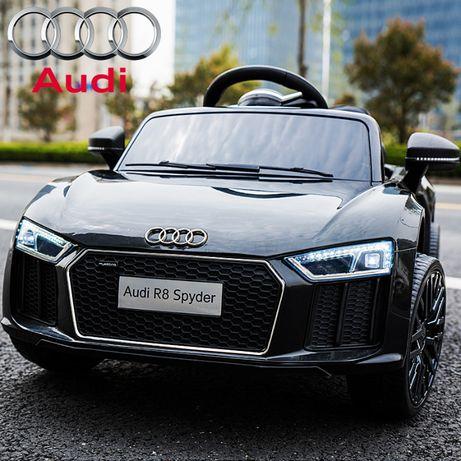 Акумулаторна кола Audi R8 Spyder 12V с меки гуми с Кожена седалка,MP3,