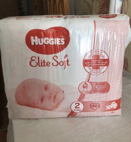 Подгузники Хаггис Huggies Elite Soft 2 82 шт. (4-6 кг)