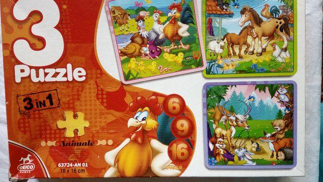 Vand joc puzzle 3 in 1 cu animale
