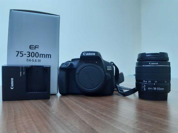 Canon D4000 + doua obiective (18-55 si 75-300)