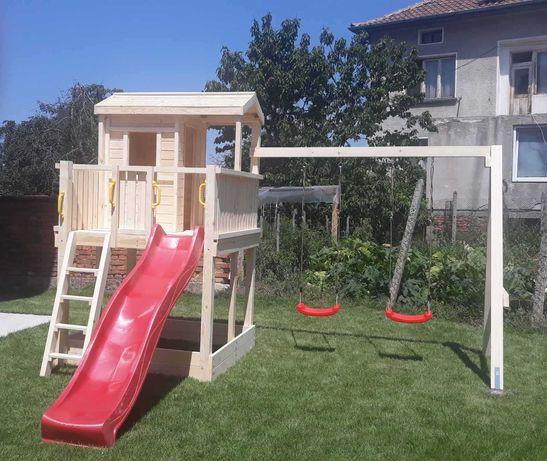 Детска къщичка с пързалка и люлки
