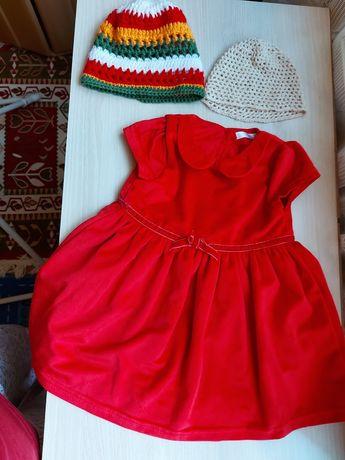 Set rochiță din catifea +2 caciulite crosetate