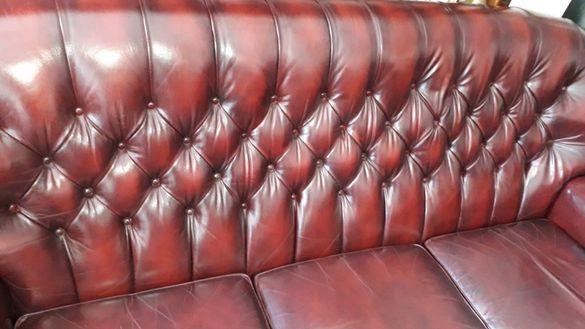 Честърфийлд/Chesterfield - кожена гарнитура диван с 2 фотьойла