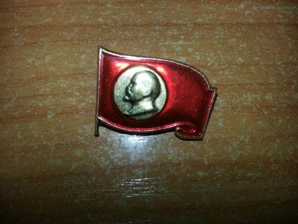 Позлатена значка с Ленин - нова