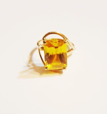 Inel aur 14k cu zirconiu cubic galben, mărime 55
