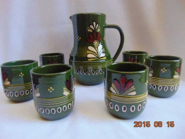 Carafa ceramica si 6 pahare