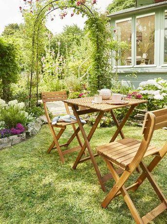 Set 2 scaune si masa din lemn, pliabile - pentru balcon, terase