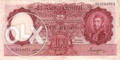 bancnota 100 pesos argentina+altele