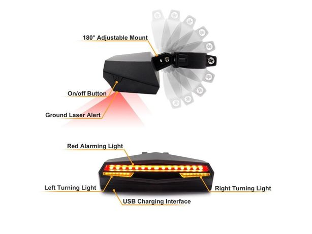 Led semnalizare stg/dr bicicleta trotineta cu stop frana incarcare USB
