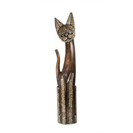 Pisica din lemn si coaja de ou de 80 cm,lucrat manual