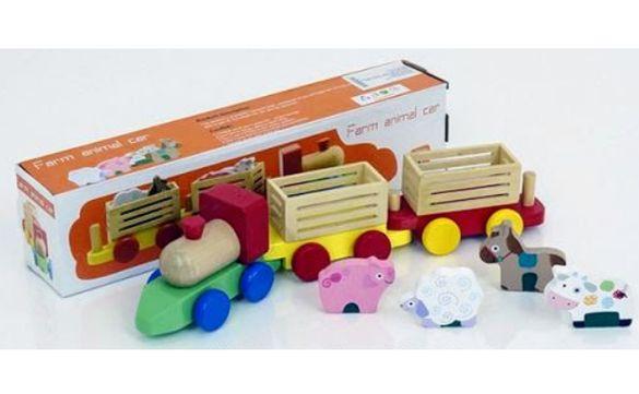 НОВО! Голям дървен влак ФЕРМА с животни и ремаркета