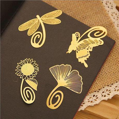 Semn de carte aurit 18k sau cu zodiac, floare, rigla lemn sau plastic