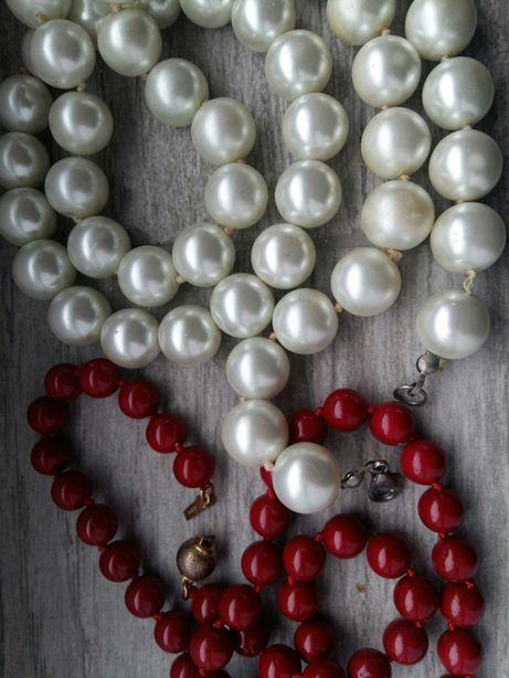 Perle bratara colier albe și rosii