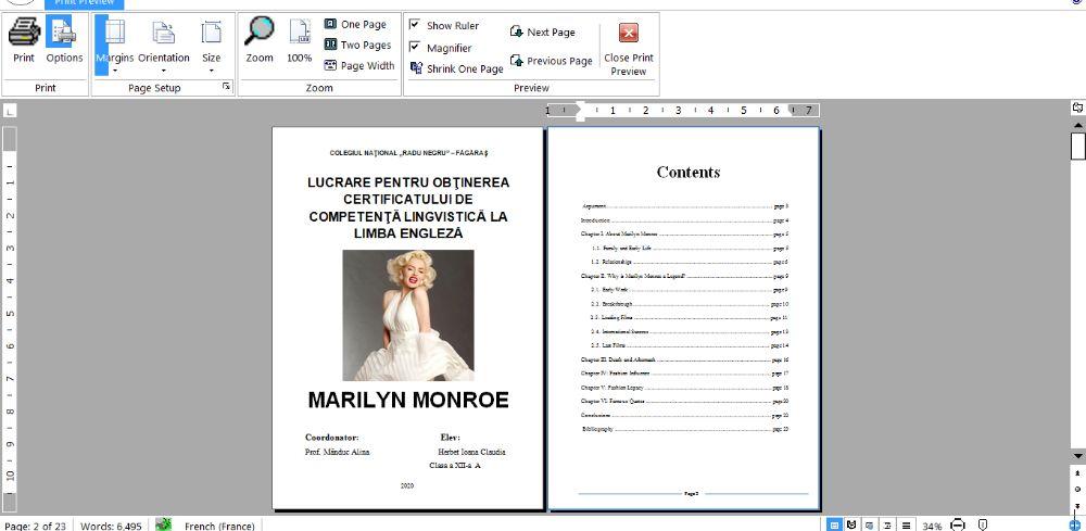 Atestat Engleza - Marilyn Monroe Fagaras - imagine 1