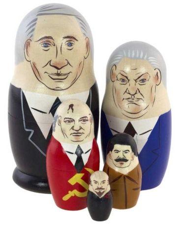 Матрешки Путин, Ельцин, Горбачев, Сталин, Ленин НОВЫЕ