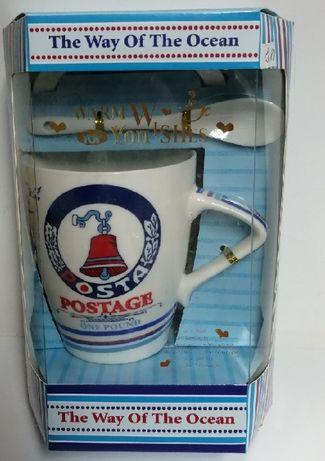 Чаша с морски мотиви в комплект с чинийка и лъжичка
