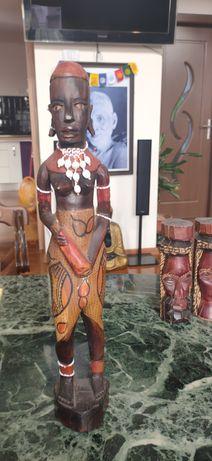 Statui arta africana abanos pictat sau alt lemn masiv dur si greu