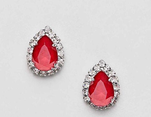 Червени/черни обеци с камъни Сваровски - два модела