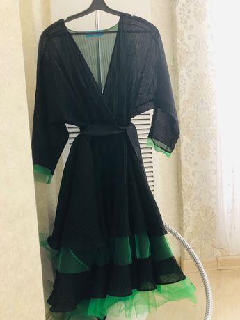 Шифоновое платье с шелковой комбинацией, пышная юбка, дизайнерское