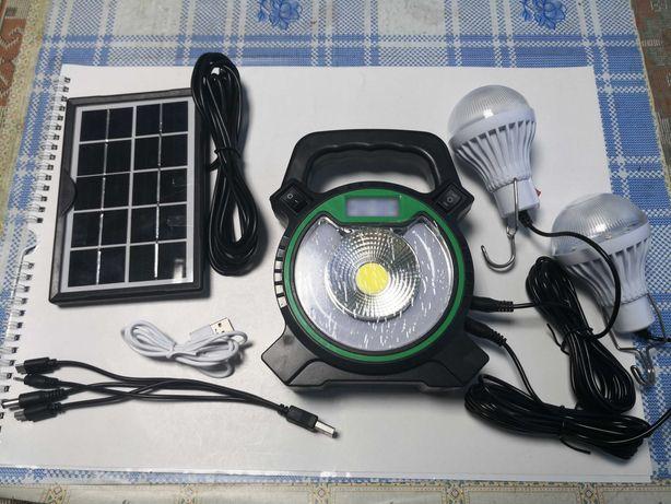 Kit panou solar cu 2 becuri, lanterna si lampa