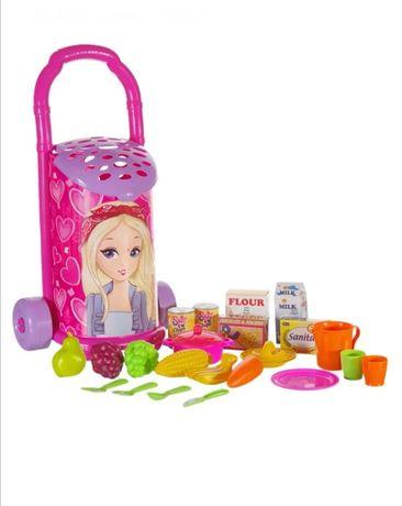 Детска пазарска пазарна количка кола с продукти