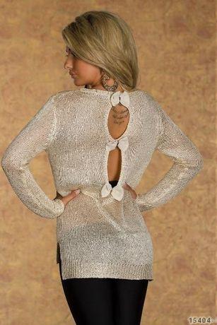 bluza dama crem cu paiete la spate cu funde