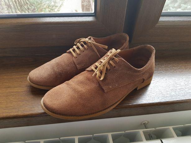 ZARA - Pantofi barbati din piele intoarsa maro - Marimea 40
