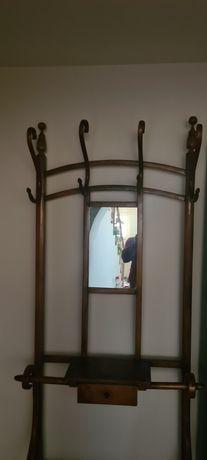 De vânzare cuier vechi din lemn cu oglinda și sertar