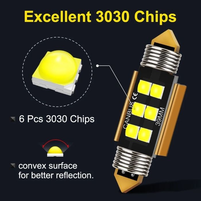 Bec led canbus C5W led: 3030, alb pur 6000 k, 39 mm, Gold Edition 2021