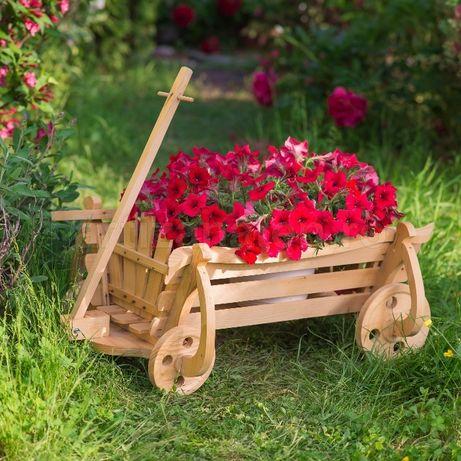 Suport flori - Căruţă mare din lemn pentru flori