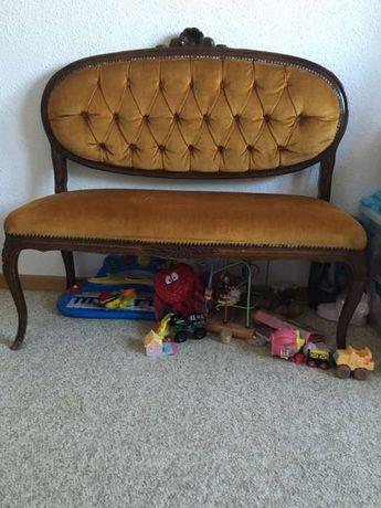Canapea antica vintage lemn natur.