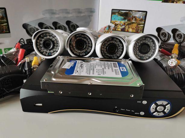 Sistem supraveghere 5Mpx 4Camere + HDD 500GB IR80M Color Internet IP67