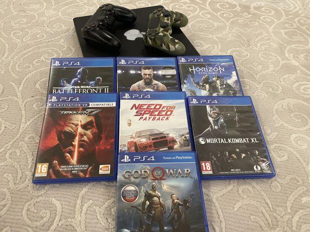 PS4 slim/2 джойстика/7 премиум игр