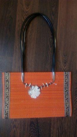 Дамска чанта сламена със седеф