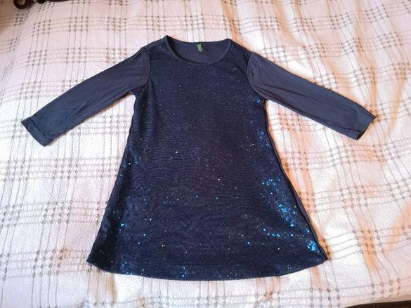 Детска синя, блестяща, празнична рокля на Бенетон 116 см - 5-6 г