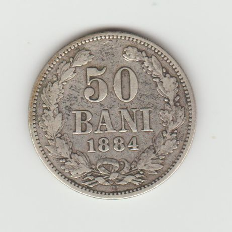 Moneda argint 50 bani 1884 frumoasa -13-