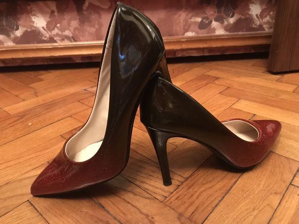 Pantofi dama rosu cu negru