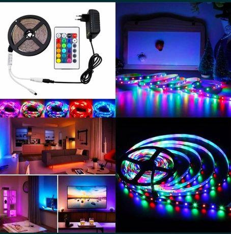 Промоция!Многоцветна RGB LED лента 5 м. с дистанционно
