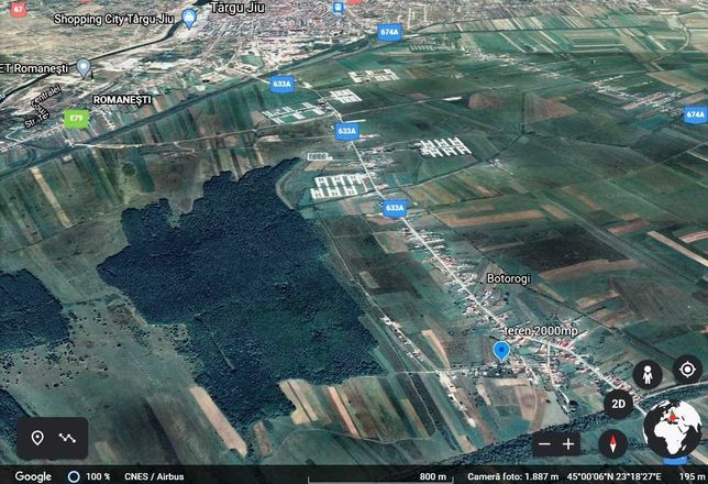 Teren 15 Euro/mp  Botorogi la 5 minute de Targu Jiu cu deschidere 26 m