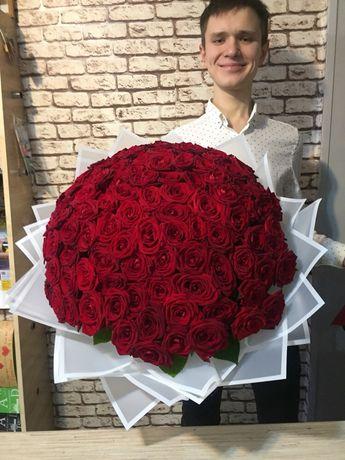 101 роза ,доставка по костанайской облост .